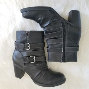 💖 Natural Sole  Slouchy Buckle Heeled Boots sz 8